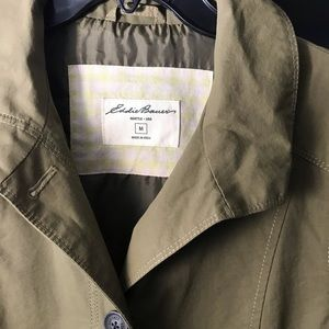 Eddie Bauer trench coat olive color